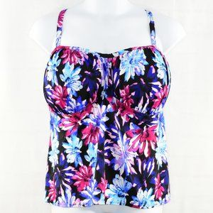Swimsuits For All Swim - SWIMSUITS FOR ALL Floral Ruched Bust Tankini.!